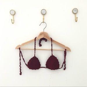 LOVERS + FRIENDS crochet bikini top only small